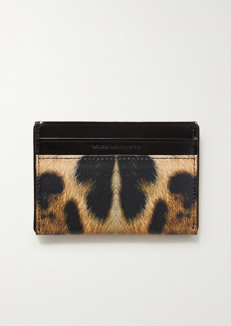 Dries Van Noten Christian Lacroix Leopard-print Smooth And Textured-leather Cardholder