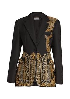 Dries Van Noten Long Embroidered Military Wool-Blend Jacket