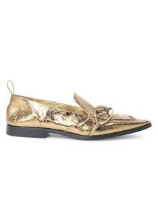 Dries Van Noten Metallic Twist Leather Loafers