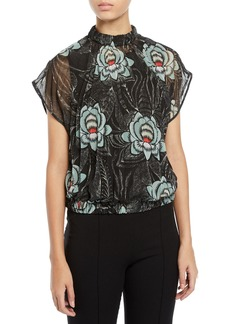 Dries Van Noten Mock-Neck Short-Sleeve Pleated Floral-Print Top