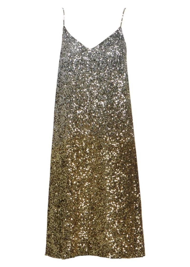 Dries Van Noten Ombré Sequin Silk Slip Dress