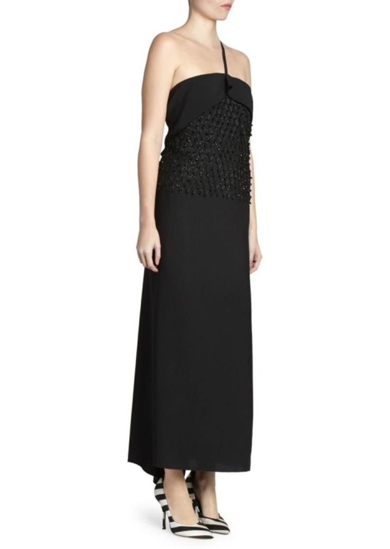 Dries Van Noten One-Strap Beaded Cocktail Dress