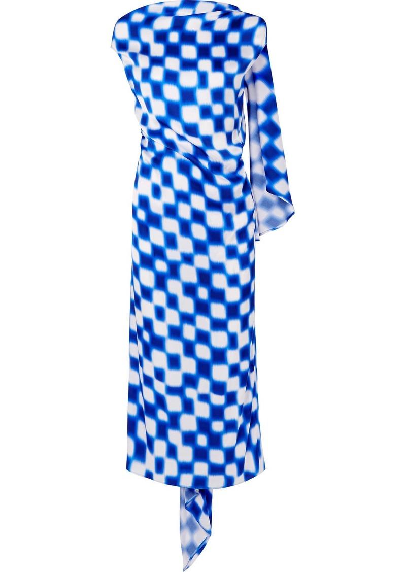 Dries Van Noten Open-back Draped Printed Silk-satin Midi Dress