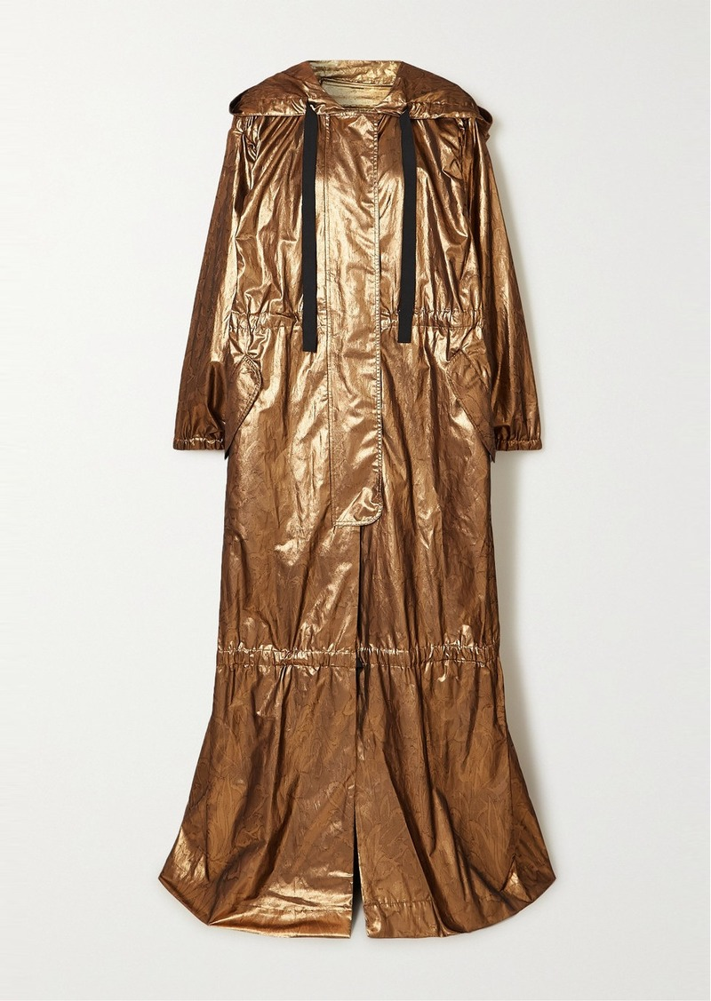 Dries Van Noten Oversized Hooded Tiered Metallic Silk-blend Jacquard Coat