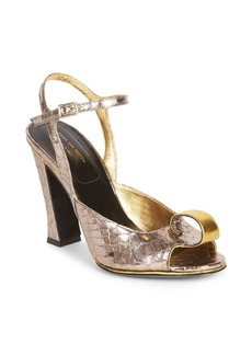 Dries Van Noten Crocodile-Embossed Metallic Leather Slingback Sandals