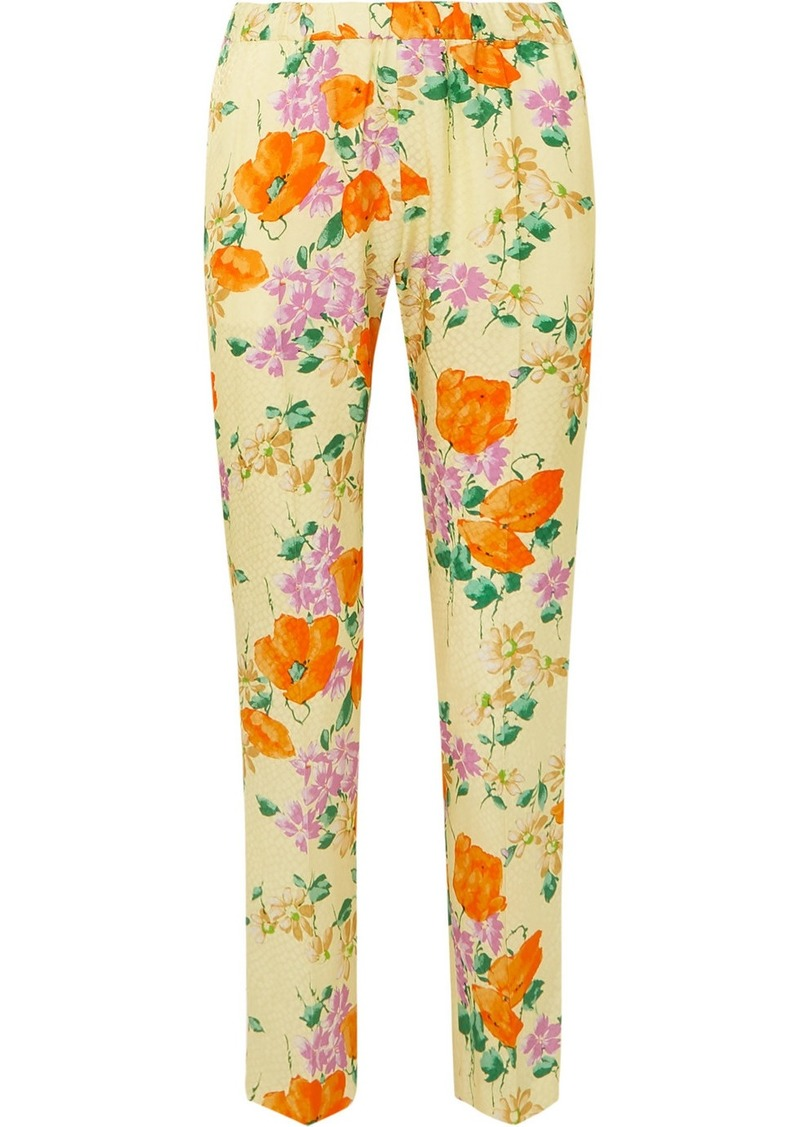 Dries Van Noten Floral-print Satin-jacquard Slim-leg Pants