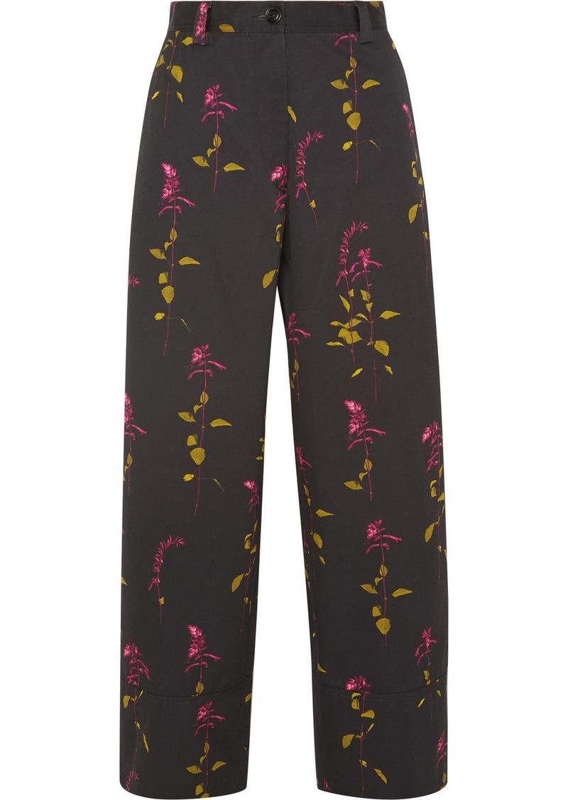 Dries Van Noten Paroval Cropped Floral-print Cotton-twill Wide-leg Pants