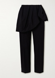 Dries Van Noten Layered Cotton And Wool-blend Straight-leg Pants