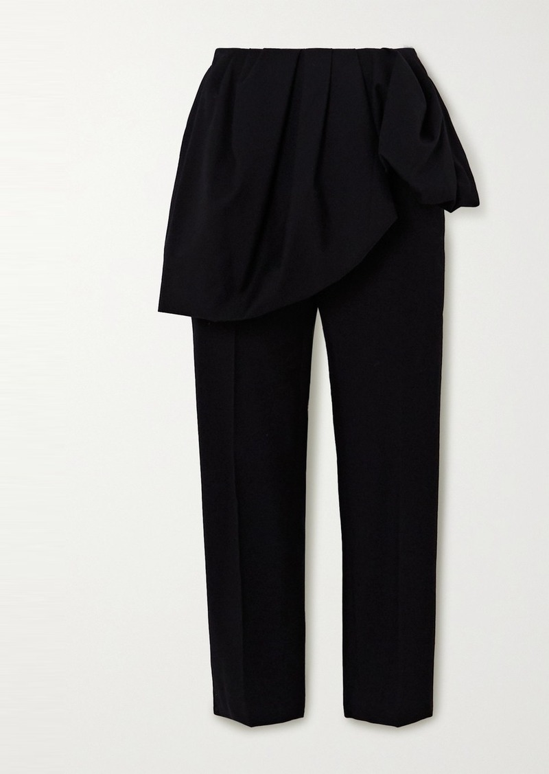Dries Van Noten Patiar Layered Cotton And Wool-blend Straight-leg Pants