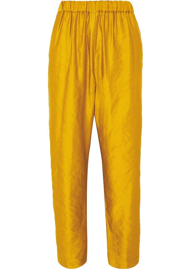 Dries Van Noten Pearl Metallic Faille Straight-leg Pants