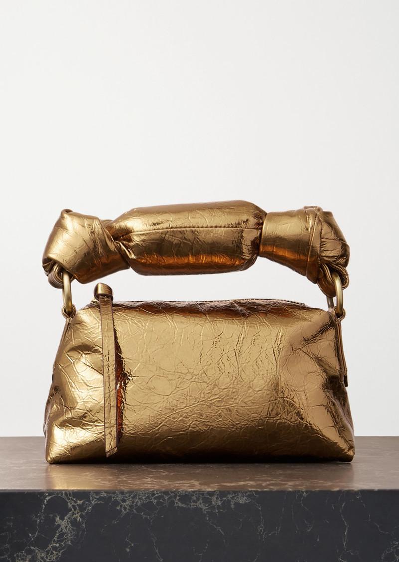 Dries Van Noten Pillow Mini Metallic Crinkled-leather Tote