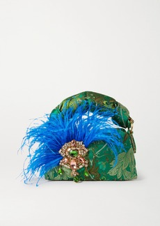 Dries Van Noten Pillow Smalll Feather And Crystal-embellished Floral-jacquard Tote
