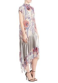 Dries Van Noten Pleated A-Line Floral Midi Dress