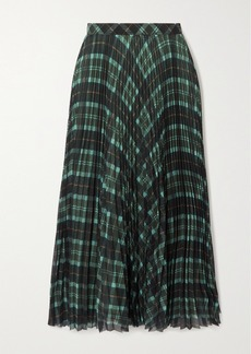 Dries Van Noten Pleated Checked Crepe Midi Skirt