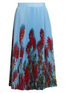 Dries Van Noten Pleated Floral Midi Skirt