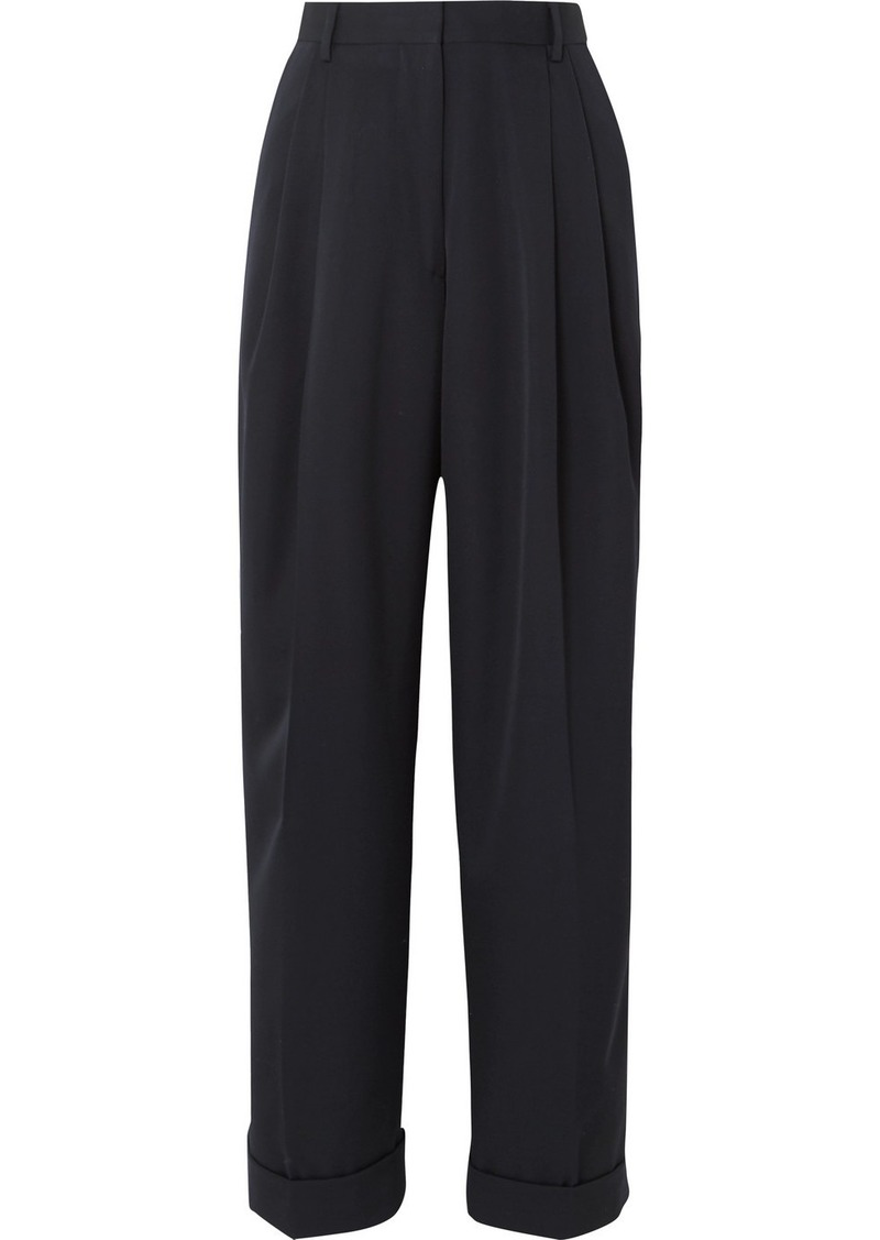 Dries Van Noten Pleated Wool-gabardine Straight-leg Pants