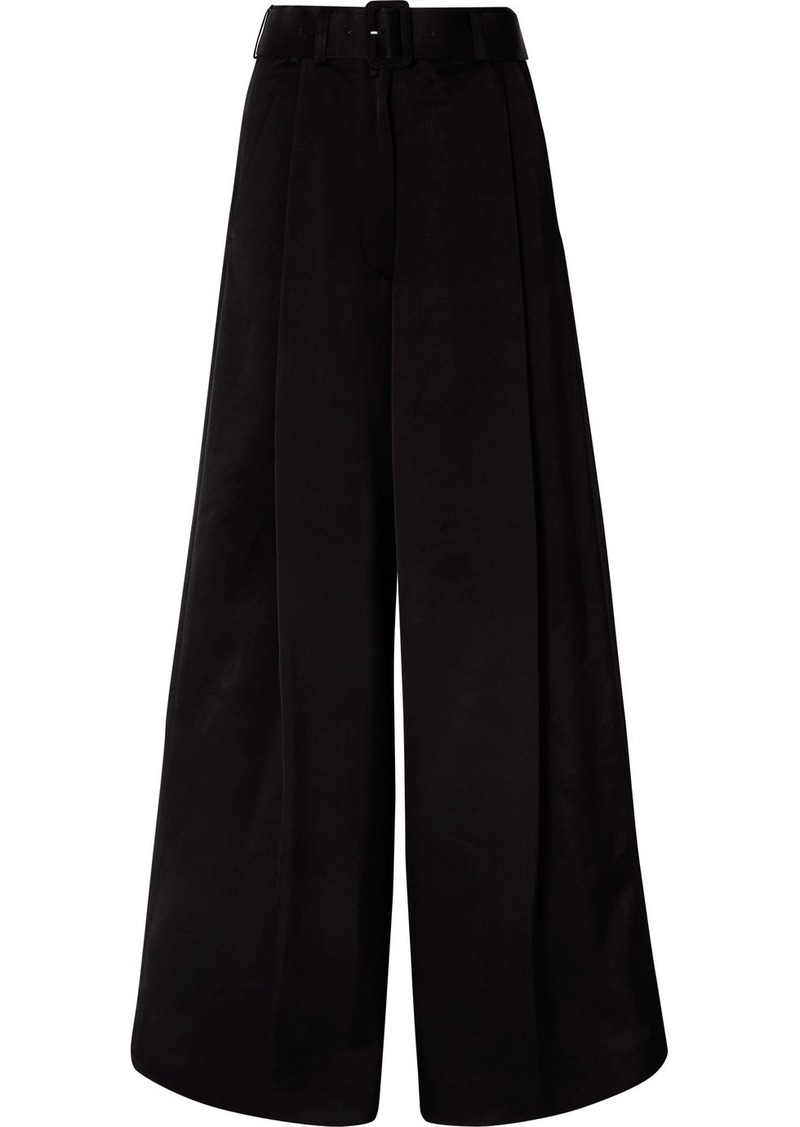 Dries Van Noten Podium Belted Satin-crepe Wide-leg Pants