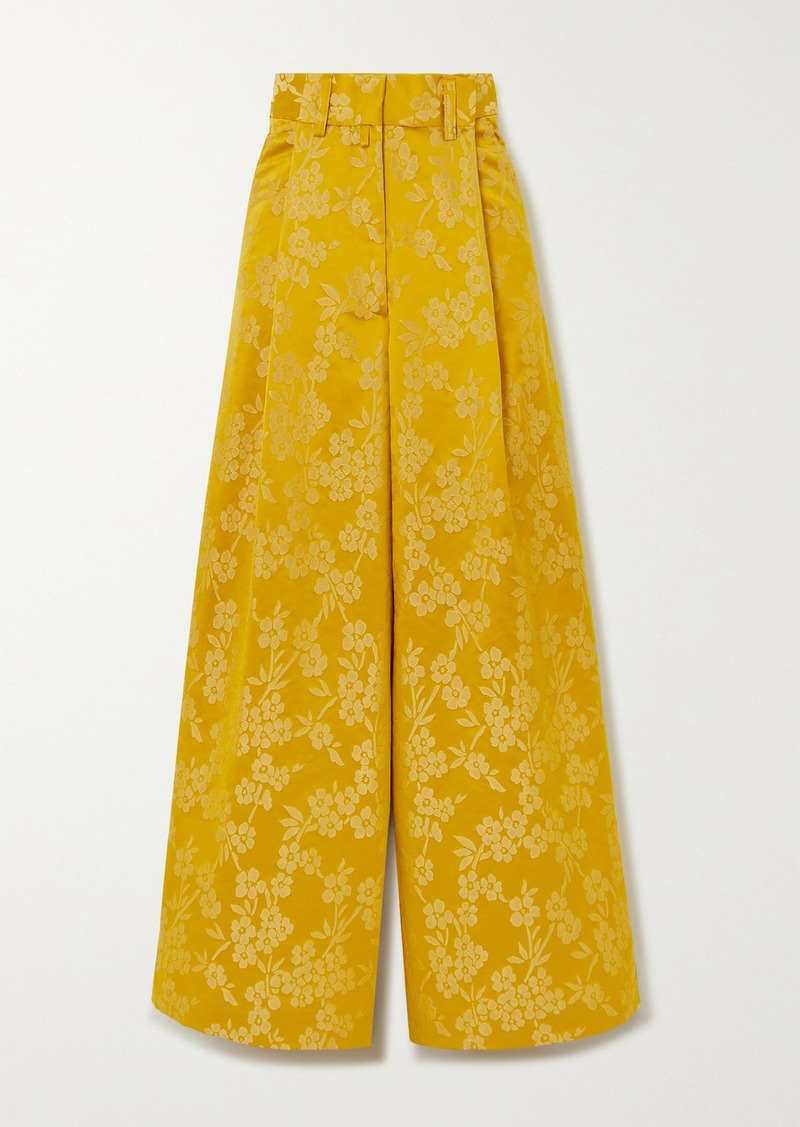Dries Van Noten Podium Floral-jacquard Wide-leg Pants
