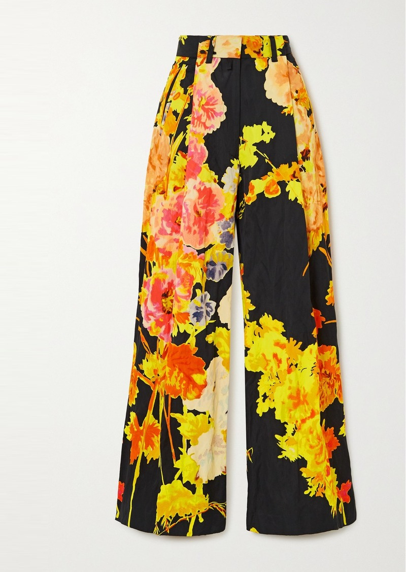 Dries Van Noten Podium Floral-print Satin Wide-leg Pants