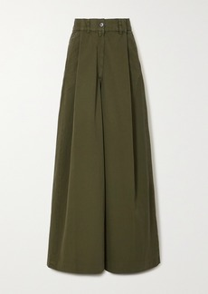 Dries Van Noten Pleated Cotton-twill Wide-leg Pants
