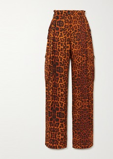 Dries Van Noten Leopard-print Silk-satin Cargo Pants