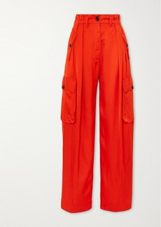 Dries Van Noten Satin Wide-leg Cargo Pants