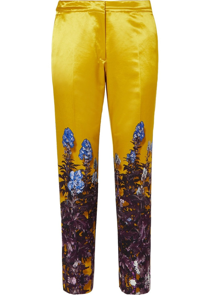 Dries Van Noten Poumas Floral-print Cotton-blend Satin Tapered Pants