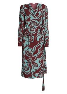 Dries Van Noten Print Wrap Dress