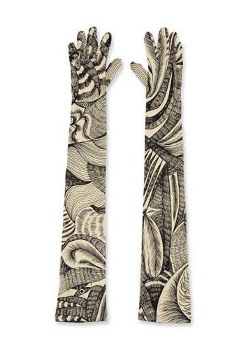 Dries Van Noten Printed Five-Finger Elbow-Length Gloves