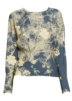 Dries Van Noten Printed Floral Crepe Blouse