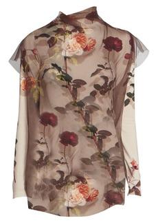 Dries Van Noten Printed Short-Sleeve Sheer Silk Tulle Blouse