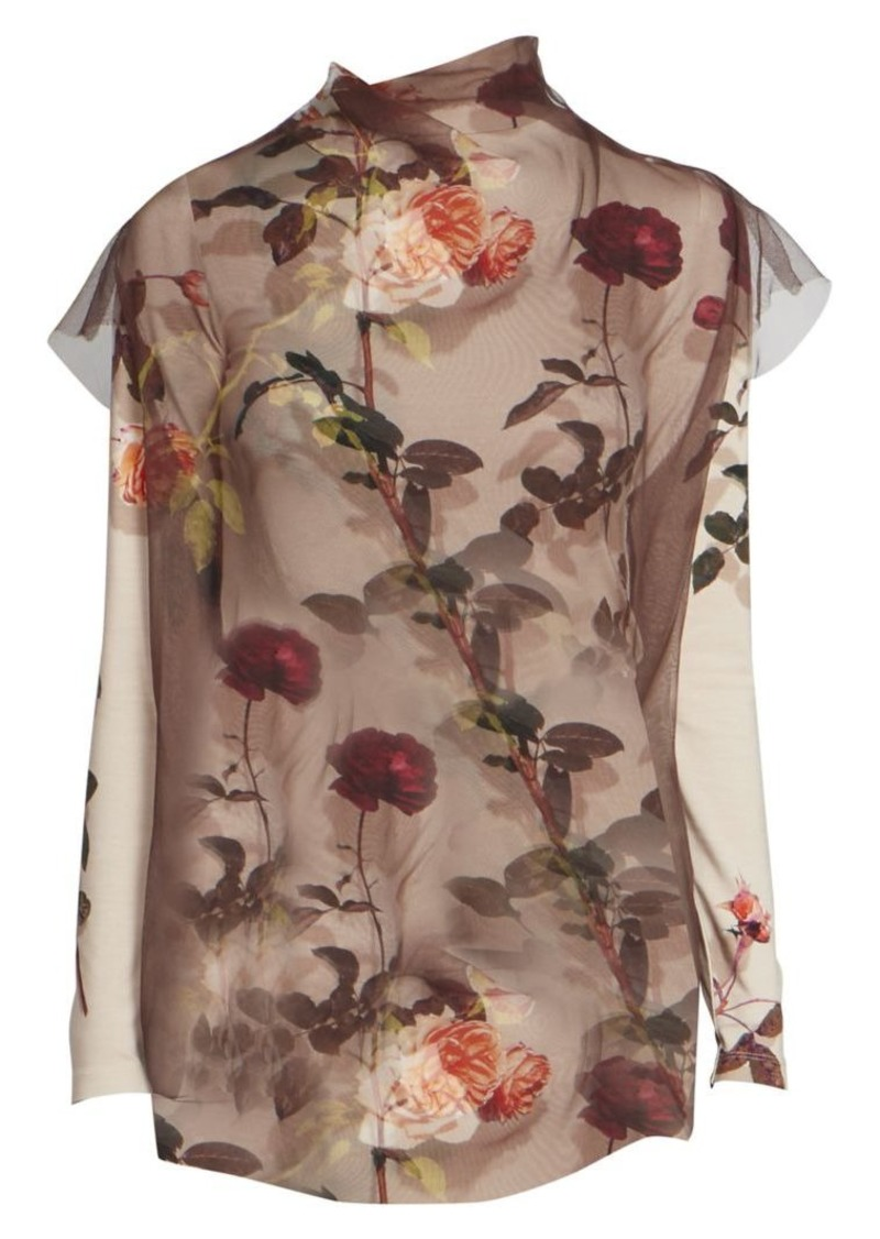 Dries Van Noten Printed Short-Sleeve Sheer Silk Tulle Blouse