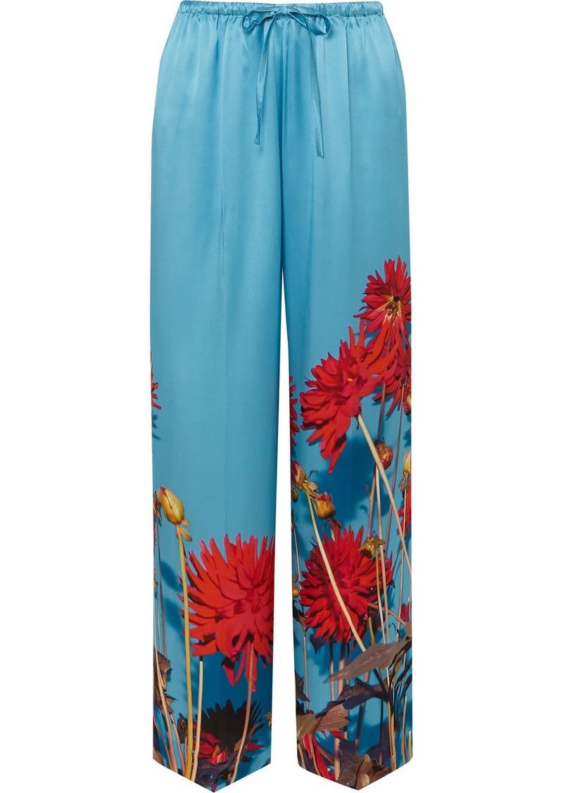 Dries Van Noten Puvis Floral-print Silk-satin Wide-leg Pants