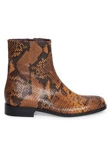 Dries Van Noten Python-Print Leather Boots