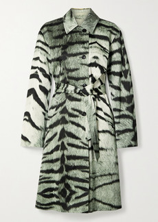 Dries Van Noten Tiger-print Satin Trench Coat