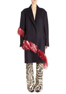 Dries Van Noten Ratti Bis Feather & Wool-Blend Coat
