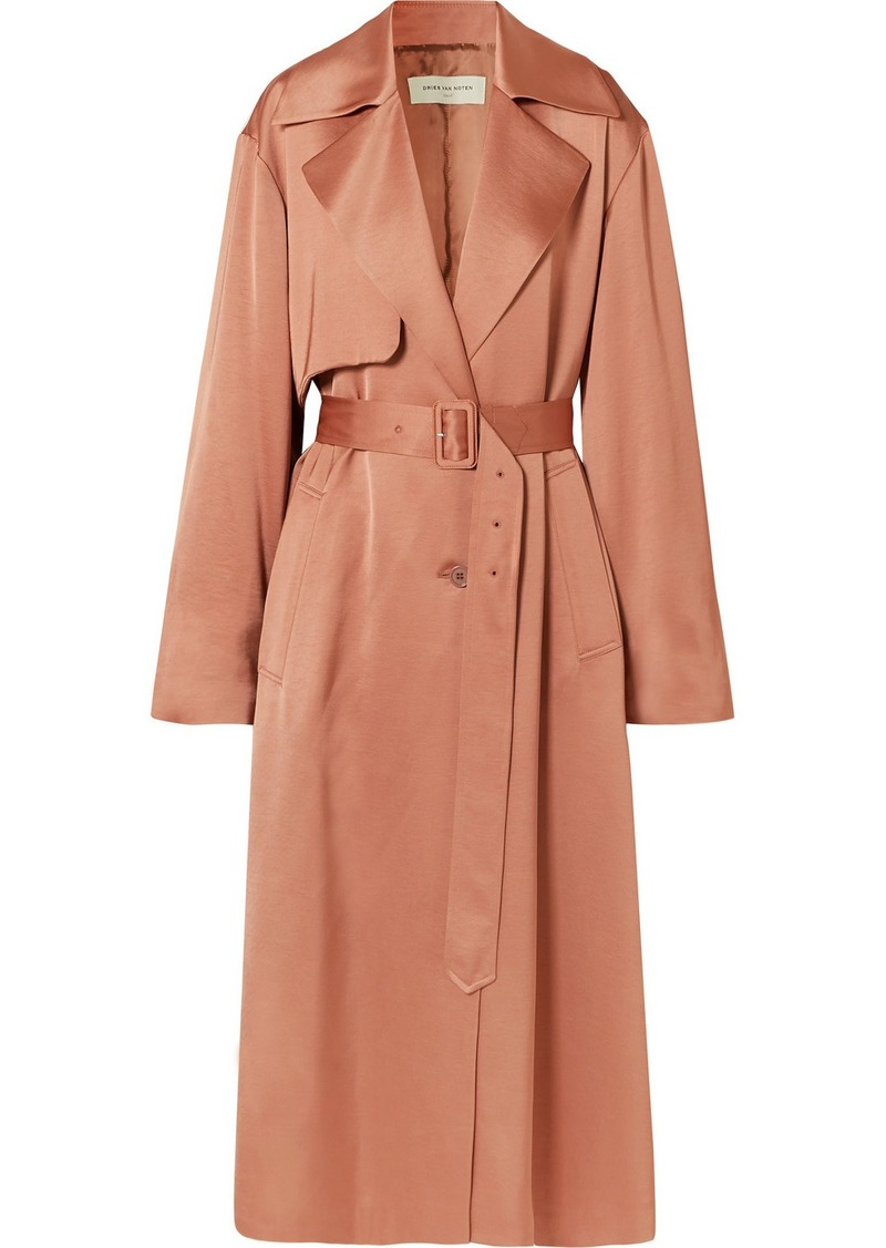 Dries Van Noten Raven Satin Trench Coat