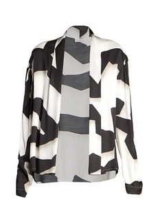 Dries Van Noten Ribbon-Print Wrap Blouse