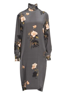 Dries Van Noten Rose Print Silk Turtleneck Shift Shirtdress