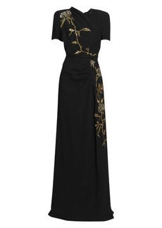 Dries Van Noten Rose Sequin Draped Gown