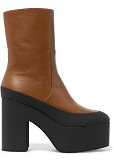 Dries Van Noten Rubber-trimmed Leather Platform Ankle Boots