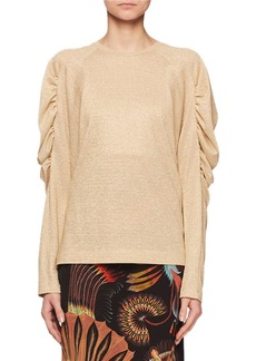 Dries Van Noten Ruched Long-Sleeve Jewel-Neck Metallic-Knit Top
