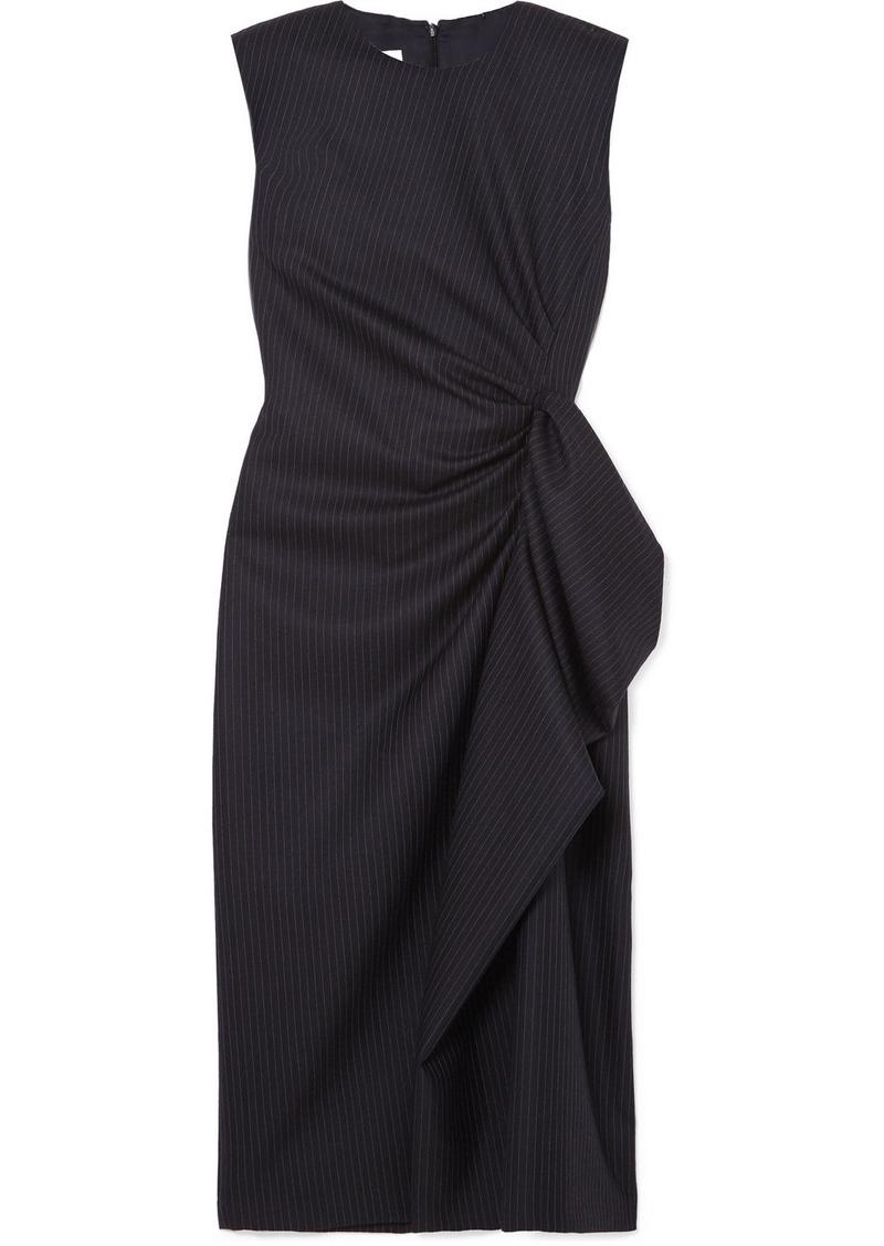 Dries Van Noten Ruffled Pinstriped Wool Midi Dress