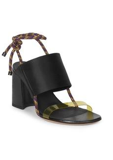 Dries Van Noten Satin & PVC-Strap Block Heel Sandals