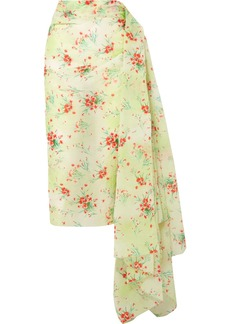Dries Van Noten Draped Floral-print Taffeta Skirt