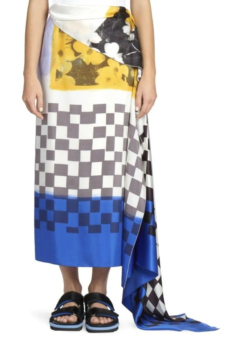 Dries Van Noten Scarf Print Silk Wrap Skirt