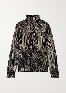Dries Van Noten Sequin-embellished Velvet Turtleneck Top