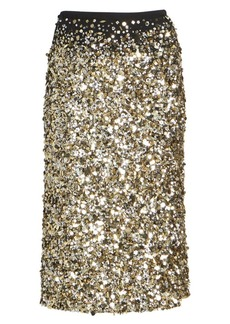Dries Van Noten Sequin Silk Midi Pencil Skirt