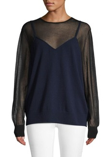 Dries Van Noten Sheer Long-Sleeve Layered Sweater