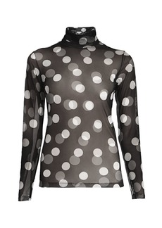 Dries Van Noten Sheer Polka Dot Turtleneck